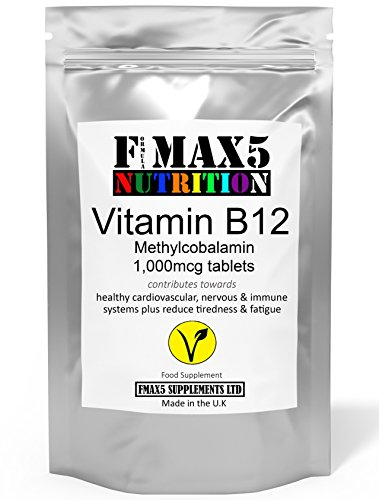 Vitamin B12 Methylcobalamin 1000mcg 180 Tablets (6 Month's Supply) | Contributes Towards Reduction of Tiredness and Fatigue by FMax5 Supplements | Vegetarian Friendly | UK Made