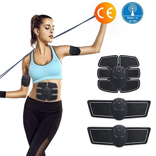 Wonyered Electroestimulador Muscular Abdominales y Masajeador Eléctrico Cinturón EMS Músculo Ejercitador del Cuerpo de Brazos y Piernas 6 modos, 10 tipos de intensidad