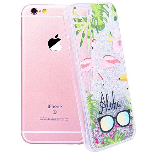 """WE LOVE CASE iPhone 7 Plus / 8 Plus Hülle Glitzern Transparent Flüssig Quicksand Diamant Liquid Flamingo Blumen iPhone 7 Plus / 8 Plus 5,5"""" Hülle Hardcase und Silikon Weich CaseRosa Blau Gold Handyhül Pink 2"""
