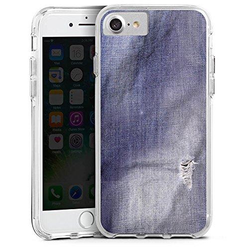 Apple iPhone 6 Bumper Hülle Bumper Case Glitzer Hülle Grau Grey Jeans Farben Look Bumper Case transparent