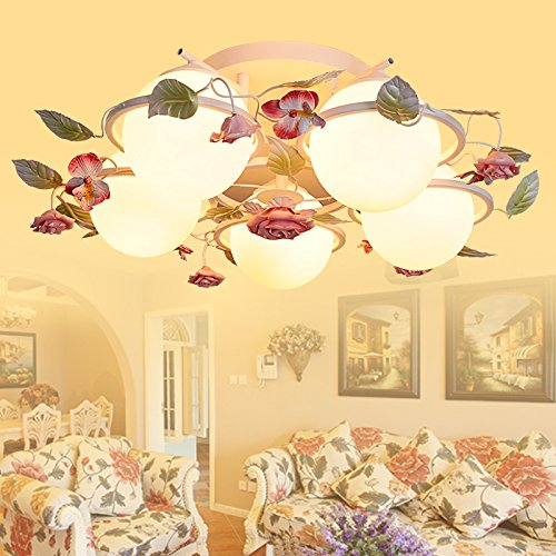 slkk rurale camera da letto del vento fiori romantico seduta lampade e lanterne, piante in ferro battuto assorbono la luce cupola , 5 head