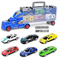 AOTE-D Toy Truck Container Truck 2 And Taxi Track 7 Cars Portable Boy Girl Birthday Present Car Transporter Toy For Kids Educational Toy Transport Carrier Truck Set Assorted Vehicles,Blue