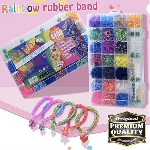 Sunshine smile Loom bänder Box 4400 Loom Bands mit Webrahmen und Haken Rainbow Loombänder für armbänder,XXL Loom Set Bands,Gummibänder Starter Box (Large) (Kit Armband Loom)