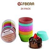 GIFBERA Tazze per Muffin, 6 Colori, Confezione da 24 Tazze in Silicone riutilizzabili