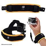 CamKix kompatibles 2in1 schwimmende Handschlaufe & Stirnband-Schwimmer- kompatibel mit 5, Black, Session, 4, Session, Schwarz, Silber, + LCD, 3+, 3, 2, 1 - Verhindert, dass Ihre Kamera versinkt- um das Handgelenk wickeln oder am Stirnband befestigen