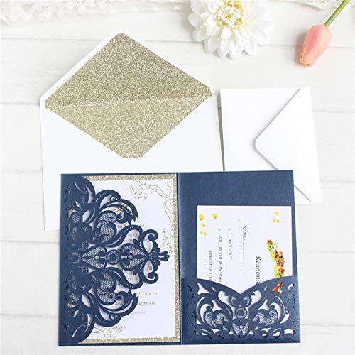 Dodom Custom Karten Einladungen mit glitzernden Umschlag für die Hochzeit Taufe handgefertigten Grußkarten bieten innere RSVP Druck 50pcs, Marineblau, nur Laser geschnittene Abdeckung