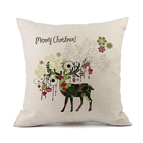 Weihnachten Deer bemalt quadratisch Kissen Fall, 45,7x 45,7cm Kissenbezug Couch, Home, Stuhl Decor Xander, hergestellt von Leinen Mischgewebe Baumwolle, super weich, Leinen, Flachs Flax h - Deer Dekorative Kissen