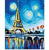 OKOUNOKO Digitales Malen Nach Zahlen Für Kinder Eiffelturm Und Die Sterne DIY Malen Nach Zahlen Moderne Landscap Digital Wandkunst Bild Coloring by Zahlen Für Hauswand Rahmenlos 40X50Cm