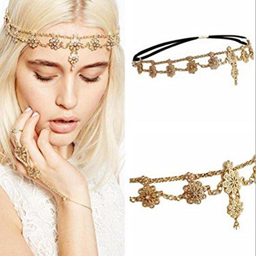 HOMEYU® Antique Rhinestone Crystal Indian Bridal Wedding Gypsy Festival Head Boho Hair Accessories Headbands Hair Jewelry
