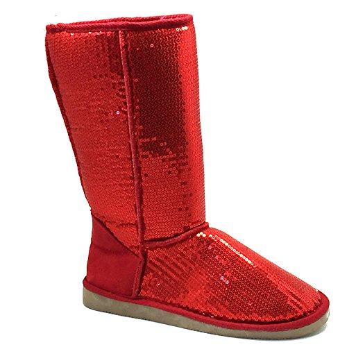 Pailletten Stiefel Rot 36 - 41 Damen & Herren Designer Schuh (41) (Schuhe Stiefel Pailletten)