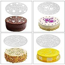 iTimo - Juego de 4 Plantillas para decoración de Tartas, diseño de Flores de cumpleaños