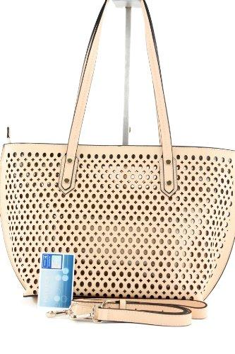 ital. Handtasche mit Lochmuster Shopper Damentasche Echt Leder Tasche F12LOCH F125210 Creme