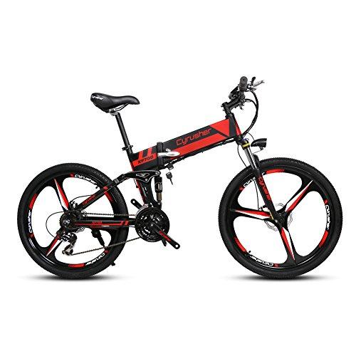 Cyrusher XF700 Rot Schwarz Herren Falten Elektrisches Fahrrad 17 X 26 Zoll Mountain Bike Full Suspension 250 Watt 36V 21 Geschwindigkeiten mit Power Off Anti-Rutsch Mechanische Scheibenbremse und Smart Bike Computer
