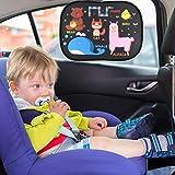 Parasol de Coche, IGOGO Coche Sun Shade paquete de 2 ventanas laterales para el coche Sombrillas Bebé universal Cortinas para el sol Bloqueos nocivos Rayos UV Calor del sol para niños Bebé Mascotas