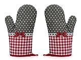 Rusty Bob Ofenhandschuhe zum Backen | Backofenhandschuh aus Baumwolle | Hitzebeständig | in vielen lustigen Designs | Koch und Topflappen (Grau-Rot gepunktet - 2er Set), 1,
