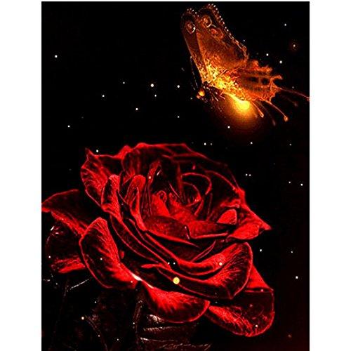 Riou DIY 5D Diamant Painting voll,Stickerei Malerei Crystal Strass Stickerei Bilder Kunst Handwerk für Home Wand Decor gemälde Kreuzstich Rote Rose Blume Bild Muster (Mehrfarbig, 30 * 40cm) -