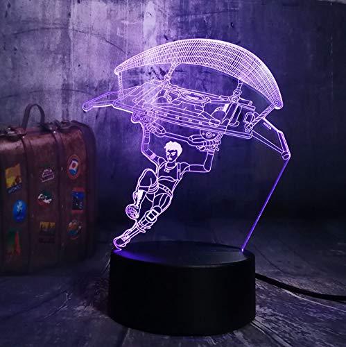 3D Nachtlicht,3D Illusion Lampe,7 Farben Ändern Touch Switch Nachtlicht,Das Beste Geschenk Für Kinder,Optisches 3D-Nachtlicht,Tischlampe, Fallschirm