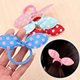 #9: 24 Pcs Rabbit Ear Hair Tie Bands Style Ponytail Holder/Rabbit Ears Hair Bands Rubber Band Hair Rope Hair Jewelry Hair Ring Headwear