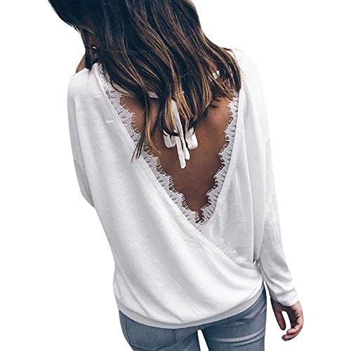 Kolylong® Sweatshirt Damen Frauen Elegant Spitze Langarm Bluse Herbst Winter Locker Sweatshirt Rückenfreies Hemd Mode T-Shirt Rundhals Pullover Tops Oberteile (M, Weiß)