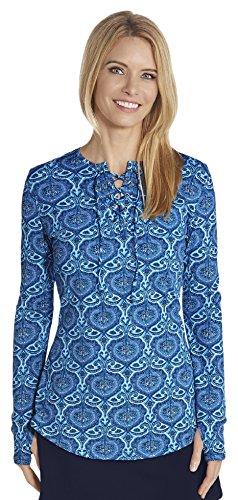 Coolibar Damen geschnürtem Ausschnitt Schwimmshirt, Blau, S (Coolibar Shirt Schwimmen)