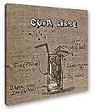 deyoli Recetas para Un Efecto Cuba Libre: Sepia como Lienzo, diseño Enmarcado en Marco de Madera, impresión Digital Marco, no es un póster o Cartel, 40 x 40