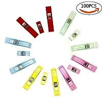 Tomkity 100pcs Clips Plástico Abrazaderas para Colcha Costura Claras Rojas