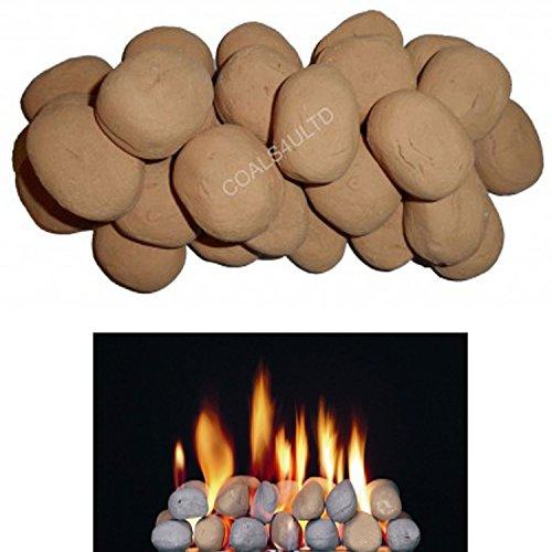 20 Beige Keramik Kieselsteine für Bio-Ethanol Feuerstelle In von Gas Und Kohle 4 You Verpackung - Gas-kamin Kieselsteine