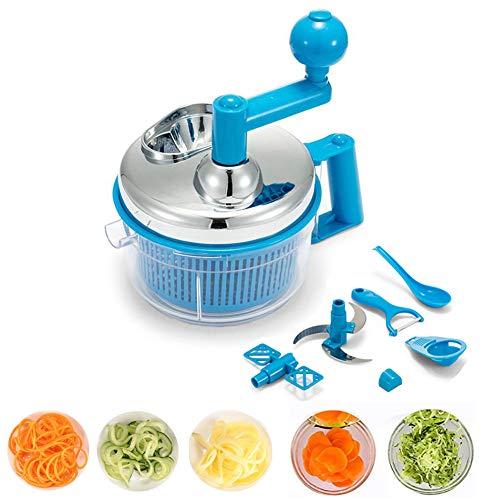 PENGPENGRAN Picadora de Alimentos, picadora de Carne/licuadora / máquina de suplemento alimenticio, Frutas, Verduras/Frutos Secos/Hierbas / Ensalada de Cebolla, 7 Piezas,Blue