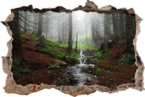 Bach im Wald Wanddurchbruch im 3D-Look, Wand- oder Türaufkleber, Wandsticker, Wandtattoo, Wanddekoration