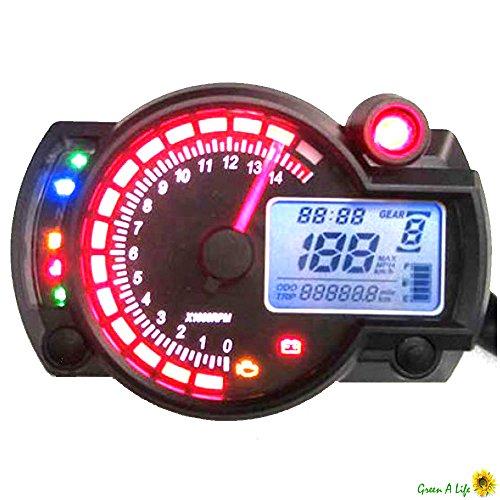 Motorrad digital Speedo Tachometer Kilometerzähler KM/H und MPH Streetfighter Hacken Trike