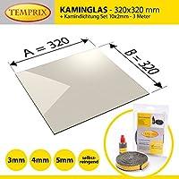 Kaminglas und Ofenglas 320 x 320 x 4 mm | Temperaturbeständig bis 800° C | » Wunschmaße auf Anfrage « | inkl. 10 x 2 mm Kamindichtung