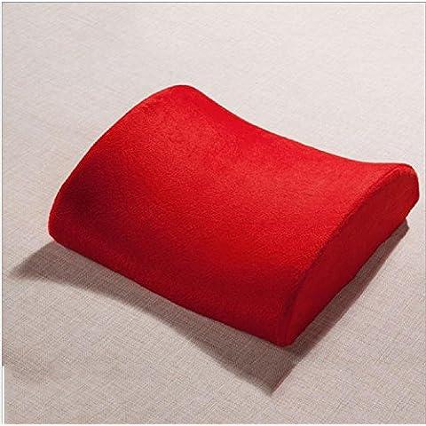 LUN Supporto schiena lombare cuscino cuscino Memory Foam con Velour coperchio ergonomico Design massaggio punto per rilievo di dolore alla schiena, verde , big red , 31*32*10