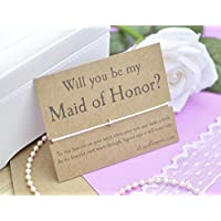 Maid of Honour Wish Bracelet, Will You Be My Maid of Honour, Bridesmaid Proposal, Wish Bracelet and Gift Card, Choice of Cord Colour and Wording.