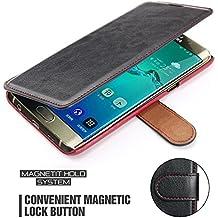 Funda Samsung Galaxy J7 2016, Mulbess Samsung Galaxy J7 2016 Wallet Case [Negro] - Funda Cuero con Ranuras Cierre Magnético para Samsung Galaxy J7 2016