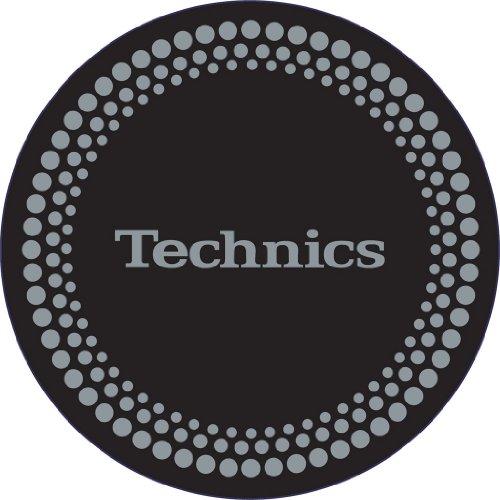 Technics DMC - Tappetino per giradischi, 1 paio, colore: nero/argento