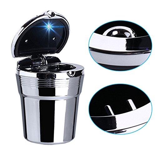 R24 KFZ Autoaschenbecher Aschenbecher LED Beleuchtung Getränkehalter Gluttöter, Aluminiumlegierung und Kunstoff