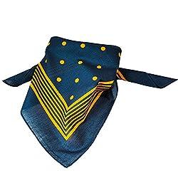 Navy Blue With Gold Stripes & Polka Dot Bandana Neckerchief by Ties Planet