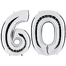 Ballon Zahl In Silber   XXL Riesenzahl 100cm   Zum Geburtstag   Party  Geschenk Dekoration Folienballon