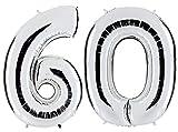 PartyMarty Ballon Zahl 60 in Silber - XXL Riesenzahl 100cm - zum 60. Geburtstag - Party Geschenk Dekoration Folienballon Luftballon Happy Birthday