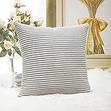 "Home Brilliant Velvet Cushion Cover for Chair Supersoft Handmade Decorative Pillowcase, Light Grey, 18""x18""(45cm)"