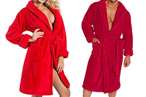 Ein Set bestehend aus 2 Bademänteln ist ein ideales Geschenk, für den gemeinsamen Wohlfühlfaktor in kalten Nächten. (XS-2XL) himbeere/rot