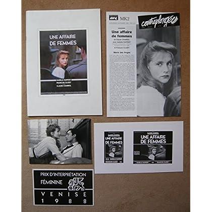 Dossier de presse de Une affaire de femmes (1988) (21x 30, 36 P) Film de Claude Chabrol avec Isabelle Huppert, François Cluzet – photos N&B + 1 photo du tournage – Très bon état.