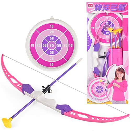 iVansa Pfeil und Bogen Kinder Set, Bogenschießen Set Outdoor Schießspiele mit 3 Starken Saugnapfpfeilen, Rosa