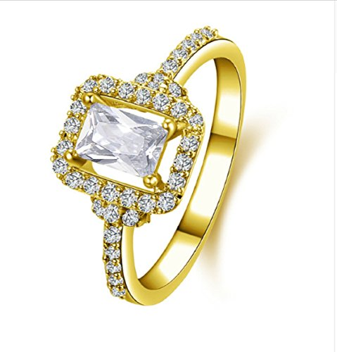 Gowe 10K Solid Gelb Gold Hochzeit Ring JOYERIA Fina Individuelle 1CT Rechteck Schnitt Simuliert Diamant