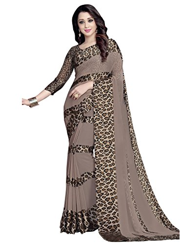 KANCHNAR Women's Satin Saree With Blouse Piece (276S107, Brown, Free Size)