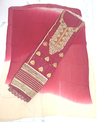 Yashu Collection Pure Cotton Maroon Embroidery Dress Material (Suit, Salwar and Dupatta)...