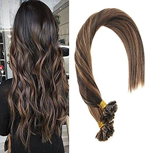 Sunny colore del pianoforte lowlight marrone u tip estensione cheratina capelli umani 1g/s remy brasiliana hot fusion capelli 50g 16