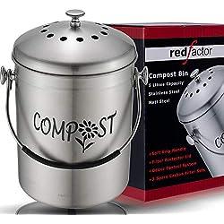 RED FACTOR Deluxe Seau Compost Inodore en Acier Inoxydable pour Cuisine - Poubelle Compost Cuisine en Inox Mat, 5 Litres (Le Composteur Comprend 3 Filtres à Charbon de Rechange)