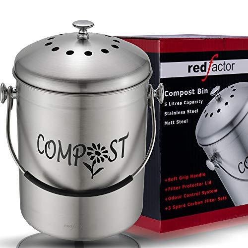 RED FACTOR Deluxe Compostiera da Cucina Inodore in Acciaio Inox - 5 Litri, Inox Satinato (3 Filtri di Ricambio in Carbone Attivo Inclusi)