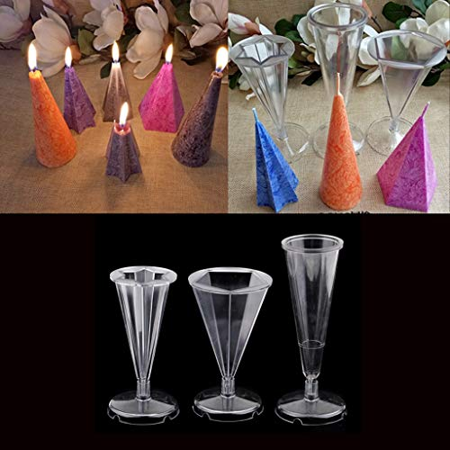 Candle Handmade - 3pcs Set Plastic Cone Pentagon Hexagon Shape Candle Making Mould With Base Handcraft Diy Decorative - Unicorn Taper Fruit Hexagon Sets Metal Tube Sealet Skull Tapers Pe